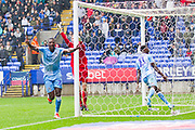 Coventry City forward Amadou Bakayoko celebrates a goal which was later disallowed for offside during the EFL Sky Bet League 1 match between Bolton Wanderers and Coventry City at the University of  Bolton Stadium, Bolton, England on 10 August 2019.