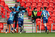 Goal Wycombe Wanderers Celebrate as Adebayo Akinfenwa of Wycombe Wanderers scores to make it 1-1 during the EFL Sky Bet League 1 match between Doncaster Rovers and Wycombe Wanderers at the Keepmoat Stadium, Doncaster, England on 29 February 2020.