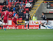 August 19th 2017, Pittodrie Stadium, Aberdeen, Scotland;  Scottish Premiership football, Aberdeen versus Dundee; Aberdeen's Stevie May fires home his side's winner for 2-1