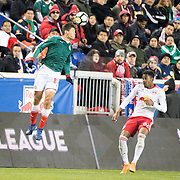HARRISON, NEW JERSEY- APRIL 10:  Jose Godinez #89 of C.D. Guadalajara challenged by Michael Murillo #62 of New York Red Bulls during the New York Red Bulls Vs C.D. Guadalajara CONCACAF Champions League Semi-final 2nd leg match at Red Bull Arena on April 10, 2018 in Harrison, New Jersey. (Photo by Tim Clayton/Corbis via Getty Images)