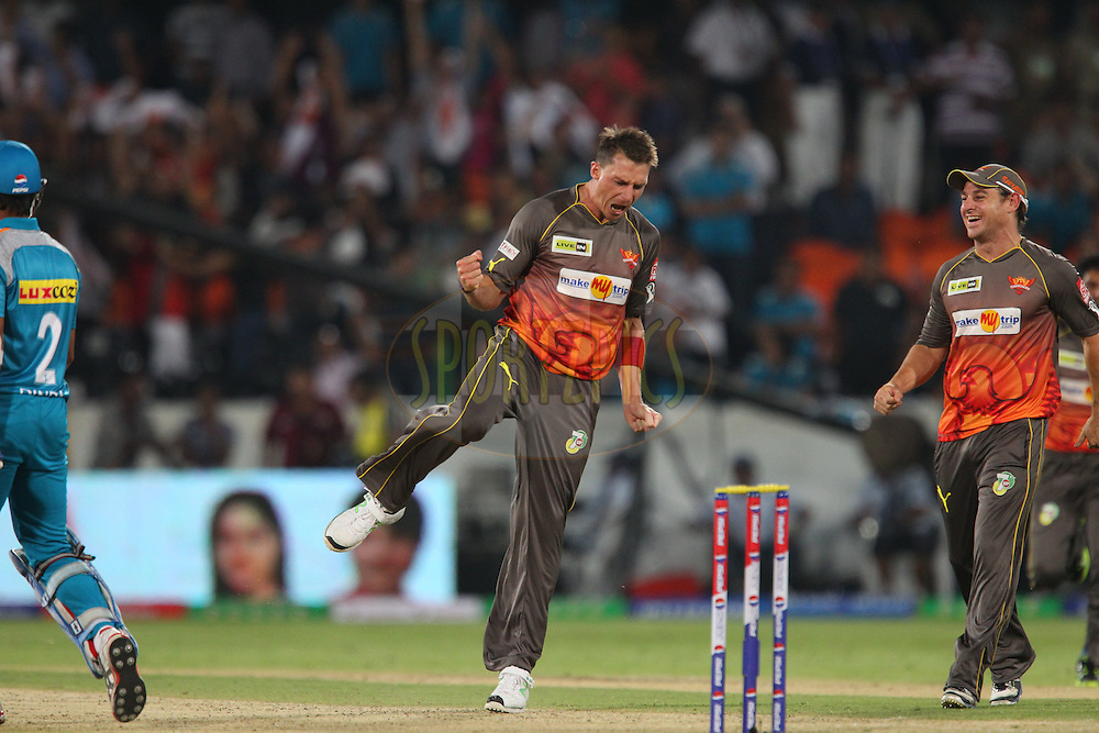 Dale Steyn celebrates taking the final wicket to win the match during match 3 of of the Pepsi Indian Premier League between The Sunrisers Hyderabad and The Pune Warriors held at the Rajiv Gandhi International  Stadium, Hyderabad  on the 5th April 2013..Photo by Ron Gaunt-IPL-SPORTZPICS..Use of this image is subject to the terms and conditions as outlined by the BCCI. These terms can be found by following this link:..http://www.sportzpics.co.za/image/I0000SoRagM2cIEc