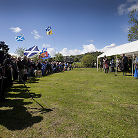 "The Earl of Moray, Andrew de Moray's direct descendent, speaks on the site of the Battle of Stirling Bridge.<br /> <br /> BRAVEHEART HEROES, WILLIAM WALLACE AND ANDREW DE MORAY, FINALLY HONOURED AT STIRLING BRIDGE BATTLE SITE AS SALTIRE RAISED FOR FIRST TIME IN OVER 700 YEARS<br /> <br /> Friday 29th May, 2015<br /> <br /> IT'S TAKEN more than 700 years but today, the two heroes at the centre of one of the most important battles in Scottish history have been jointly honoured at the spot where they both led an outnumbered Scottish army to victory against the English.<br /> The formal unveiling ceremony at Stirling Bridge today (Friday 29th May), of three lecterns made of traditional Scottish whinstone dedicated to the memory of William Wallace and Andrew de Moray, at site of the historic victory at Battle of Stirling Bridge.<br /> At a special ceremony attended by Andrew de Moray's direct descendant, the Earl of Moray, and Stewart Maxwell, MSP, convener of the Scottish Parliament's Education and Culture Committee, the memorials were formally unveiled.Mr Maxwell opened the event and after the dedication, together with the Earl of Moray, they raised the Saltire together at the site of the Battle of Stirling Bridge. This is the first time in over 700 years that the Saltire has flown at Stirling Bridge. The flag will now become a permanent fixture at the site of the Battle.<br /> John Stuart, the current Earl of Moray, said of his illustrious kinsman: ""I am delighted that Andrew de Moray is finally, after 700 years, to have the recognition he deserves. The Guardians of Scotland have put a huge amount of time and effort into the lecterns, which are a very fitting tribute to one of Scotland's greatest patriots.""<br /> The victory represented a key moment in the Scottish Wars of Independence. Eminent Scots historian, Sir Tom Devine, recently described the battle as being 'second in importance only to Bannockburn in the Wars of Independence'. <br /> It is the first time the two men have been given equal prominence. One ston"