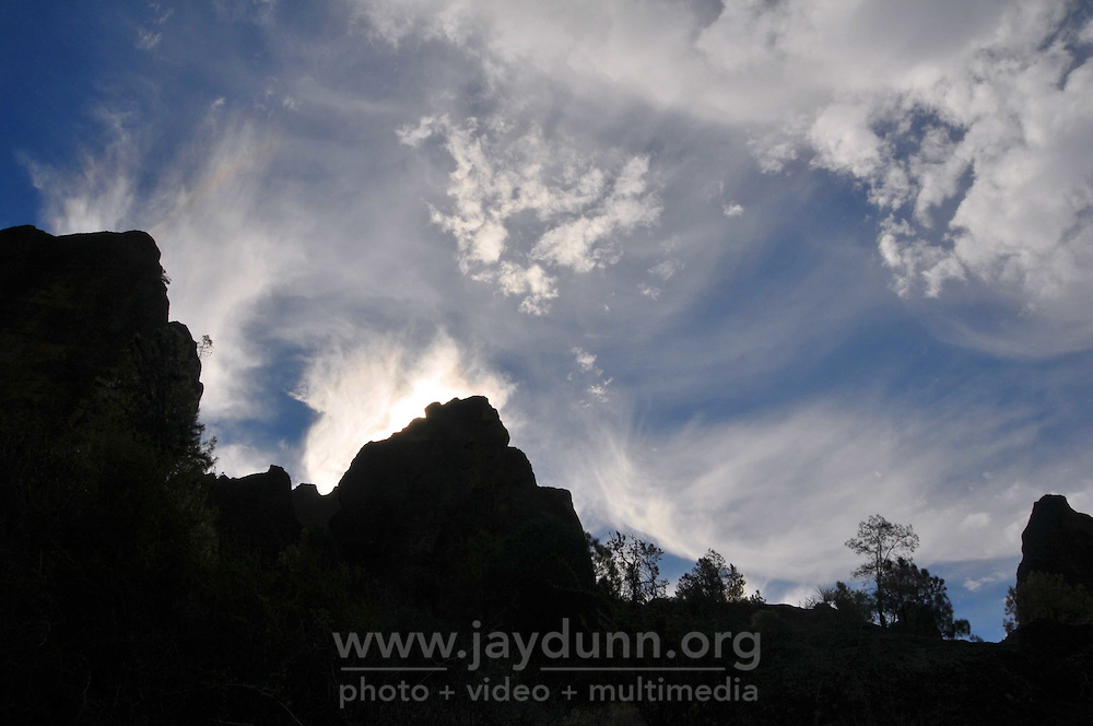 High cirrus clouds and hot, dry weather at Pinnacles National Park near Salinas.