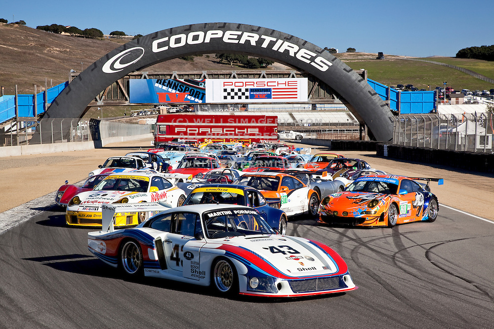 Group image of porsche race cars at the Rennsport Reunion IV, Laguna Seca, California, America west coast
