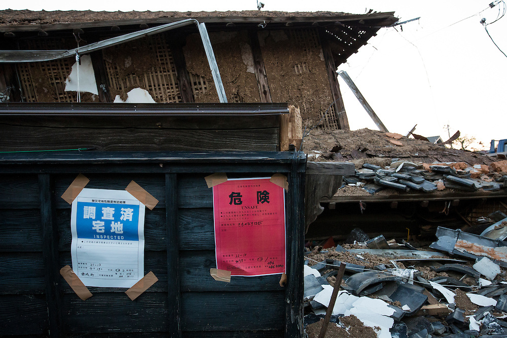 KUMAMOTO, JAPAN - APRIL 19: A warning notice &ldquo;unsafe&rdquo; and was inspected by the city office posted in the house on April 19, 2016 in Mashiki town, Kumamoto, Japan.  The magnitude 7.3 earthquake hit Kyushu, just after the earthquake killed 9, at least 26 new fatalities by this earthquake, total death toll from the series of earthquake rises to 42.<br /> <br /> Photo: Richard Atrero de Guzman