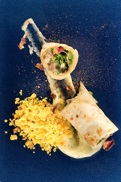 Cilindro Kebab con cuscus.<br /> Dani Garcia.<br /> Gastrobar Lamoraga,<br /> Puerto Banus, Malaga.