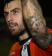 Picture by David Horn/Focus Images Ltd +44 7545 970036.05/01/2013.Alex Lawless of Luton Town and scorer of the only goal of the game celebrates the victory after the The FA Cup match at Kenilworth Road, Luton.