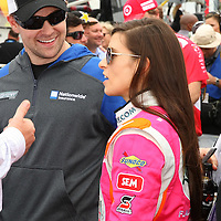 Racecar driver Danica Patrick is seen with boyfriend and Sprint Cup driver Ricky Stenhouse Jr. on the starting grid prior to racing in the NASCAR DRIVE4COPD 300 auto race at Daytona International Speedway on Saturday, February 22, 2014 in Daytona Beach, Florida.  (AP Photo/Alex Menendez)