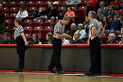 03 March 2013:  Referees Becky Blank, Randy Robertson and Scott Starkey during an NCAA Missouri Valley Conference (MVC) women's basketball game between the Missouri State Bears and the Illinois Sate Redbirds at Redbird Arena in Normal IL