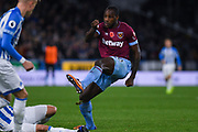 Michail Antonio of West Ham United (30) shoots during the Premier League match between Huddersfield Town and West Ham United at the John Smiths Stadium, Huddersfield, England on 10 November 2018.