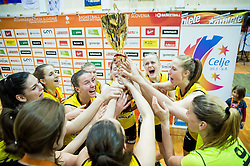 Players of Athlete Celje celebrate after winning during basketball match between ZKK Athlete Celje and ZKK Triglav in Finals of 1. SKL for Women 2014/15, on April 20, 2015 in Gimnazija Celje Center, Celje, Slovenia. ZKK Athlete Celje became Slovenian National Champion 2015. Photo by Vid Ponikvar / Sportida