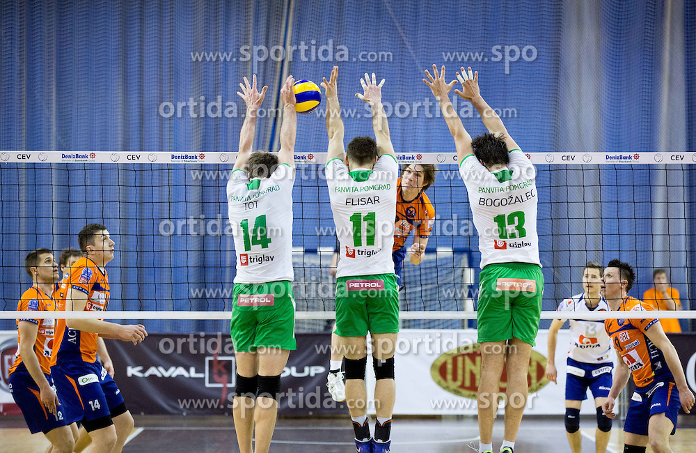 Andrej Tot, Gorazd Flisar, Aljosa Bogozalec of Panvita vs Jan Klobucar of ACH during volleyball game between OK ACH Volley and OK Panvita Pomgrad in 1st final match of Slovenian National Championship 2013/14, on April 6, 2014 in Arena Tivoli, Ljubljana, Slovenia. Photo by Vid Ponikvar / Sportida