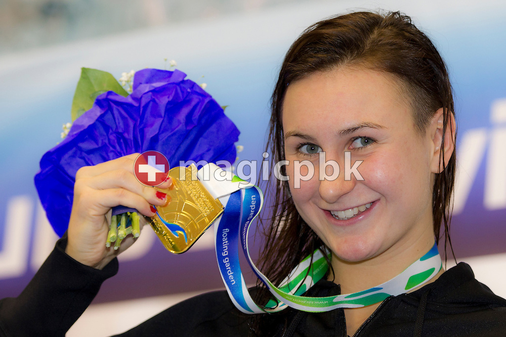 Theresa MICHALAK of Germany poses with her Gold medal after winning the women's 100m Individual Medley (IM) Final during the 15th European Short Course Swimming Championships in Szczecin, Poland, Saturday, Dec. 10, 2011. (Photo by Patrick B. Kraemer / MAGICPBK)