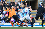 Chris O'Grady, Brighton striker shoots during the Sky Bet Championship match between Blackburn Rovers and Brighton and Hove Albion at Ewood Park, Blackburn, England on 21 March 2015.