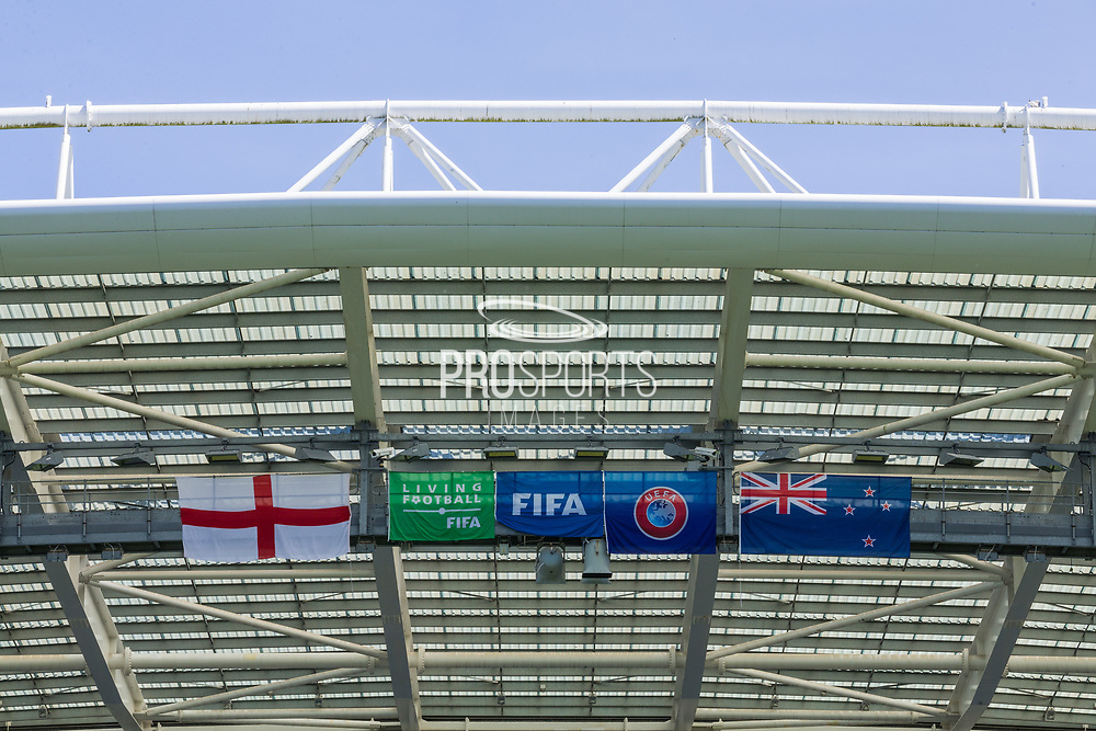 General view of the flags displayed on the East Side Stand at the American Express Community Stadium ahead of the FIFA Women's World Cup UEFA warm up match between England Women and New Zealand Women at the American Express Community Stadium, Brighton and Hove, England on 1 June 2019.