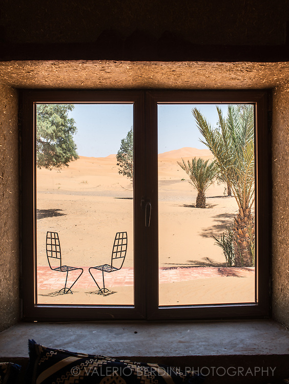View from a hotel in Erg Chebby, next to the sandy desert