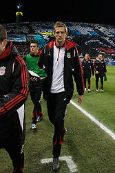 MARSEILLE, FRANCE - Tuesday, December 11, 2007: Liverpool's substitute Peter Crouch before the final UEFA Champions League Group A match against Olympique de Marseille at the Stade Velodrome. (Photo by David Rawcliffe/Propaganda)