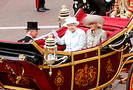 "QUEEN, PRINCE CHARLES AND CAMILLA.ride in the carriage procession from Westminster Hall to Buckingham Palace, on the occasion of the Queen's Diamond Jubilee Celebration_London_05/06/2012.Mandatory Credit Photo: ©SB/NEWSPIX INTERNATIONAL..**ALL FEES PAYABLE TO: ""NEWSPIX INTERNATIONAL""**..IMMEDIATE CONFIRMATION OF USAGE REQUIRED:.Newspix International, 31 Chinnery Hill, Bishop's Stortford, ENGLAND CM23 3PS.Tel:+441279 324672  ; Fax: +441279656877.Mobile:  07775681153.e-mail: info@newspixinternational.co.uk"