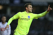 Brighton striker (on loan from Manchester United), James Wilson (21) scores and celebrates during the Sky Bet Championship match between Derby County and Brighton and Hove Albion at the iPro Stadium, Derby, England on 12 December 2015.