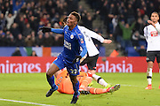 Leicester City midfielder Demarai Gray (22) celebrates after scoring a goal to make it 3-1 during The FA Cup fourth round replay match between Leicester City and Derby County at the King Power Stadium, Leicester, England on 8 February 2017. Photo by Jon Hobley.