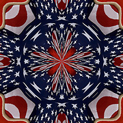 Computer enhanced kaleidoscope of American Flag into  shapes and colors zooming to center point.