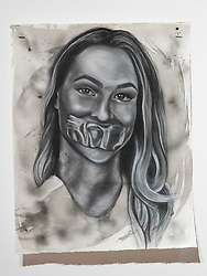 April 26, 2018 - Tampa, Florida, U.S. - A charcoal portrait of Parkland victim Meadow Pollack, by Symone Hall in the BFA show at the Scarfone/Hartley Gallery at the University of Tampa, on April 26, 2018 in Tampa, Fla. (Credit Image: © Monica Herndon/Tampa Bay Times via ZUMA Wire)