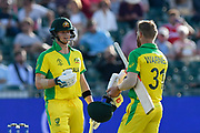 Steve Smith of Australia and David Warner of Australia during the ICC Cricket World Cup 2019 match between Afghanistan and Australia at the Bristol County Ground, Bristol, United Kingdom on 1 June 2019.