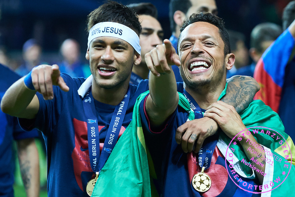 (R) Adriano and (L) Neymar both of FC Barcelona celebrate victory during the 2014/15 UEFA Champions League Final between Juventus and FC Barcelona at Olympiastadion on June 6, 2015 in Berlin, Germany.<br /> Germany, Berlin, June 6, 2015<br /> <br /> Picture also available in RAW (NEF) or TIFF format on special request.<br /> <br /> For editorial use only. Any commercial or promotional use requires permission.<br /> <br /> Adam Nurkiewicz declares that he has no rights to the image of people at the photographs of his authorship.<br /> <br /> Mandatory credit:<br /> Photo by &copy; Adam Nurkiewicz / Mediasport