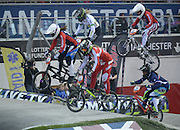 Women's Heat 2 BMX World Cup Finals at  at the Manchester Arena, Manchester, United Kingdom on 19 April 2015. Photo by Charlotte Graham.