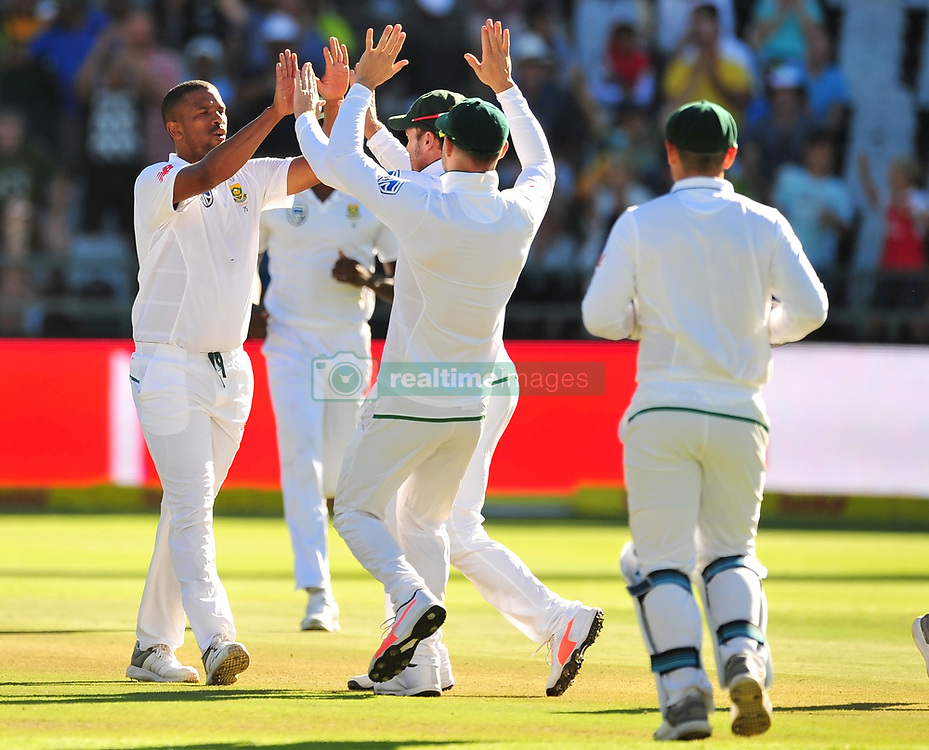 Cape Town.South African  fast bowler Vernon Philander celebrates with teamates after taking Murali Vijay out.Picture:Phando Jikelo/African News Agency(ANA)