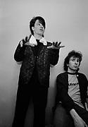 Photograph of U2 Bono and The Edge  back at the hotel -  USA tour 1981 Chicago  USA