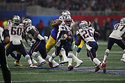 New England Patriots quarterback Tom Brady (12) in action during the NFL Super Bowl 53 football game against the Los Angeles Rams on Sunday, Feb. 3, 2019, in Atlanta. The Patriots defeated the Rams 13-3. (©Paul Anthony Spinelli)