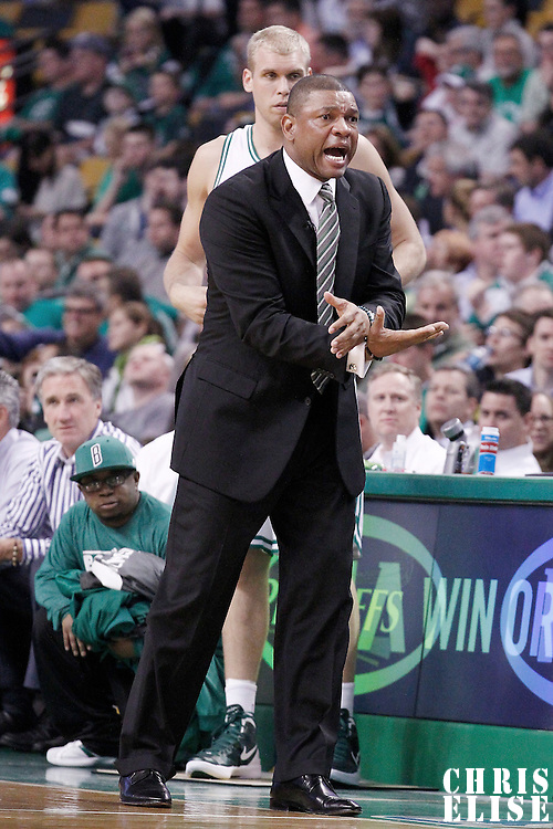 14 May 2012: Boston Celtics head coach Doc Rivers reacts during the Philadelphia Sixers 82-81 victory over the Boston Celtics, in Game 2 of the Eastern Conference semifinals playoff series, at the TD Banknorth Garden, Boston, Massachusetts, USA.
