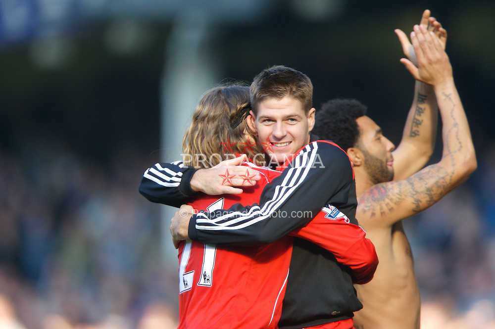 Liverpool, England - Saturday, October 20, 2007: Liverpool's Steven Gerrard MBE celebrates beating Everton 2-1 with team-mate Lucas Levia during the 206th Merseyside Derby match at Goodison Park. (Photo by David Rawcliffe/Propaganda)