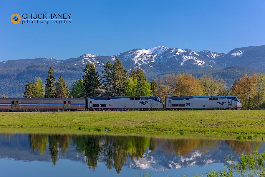 Empire Builder AMTRAK passenger train rolls into Whitefish, Montana, USA