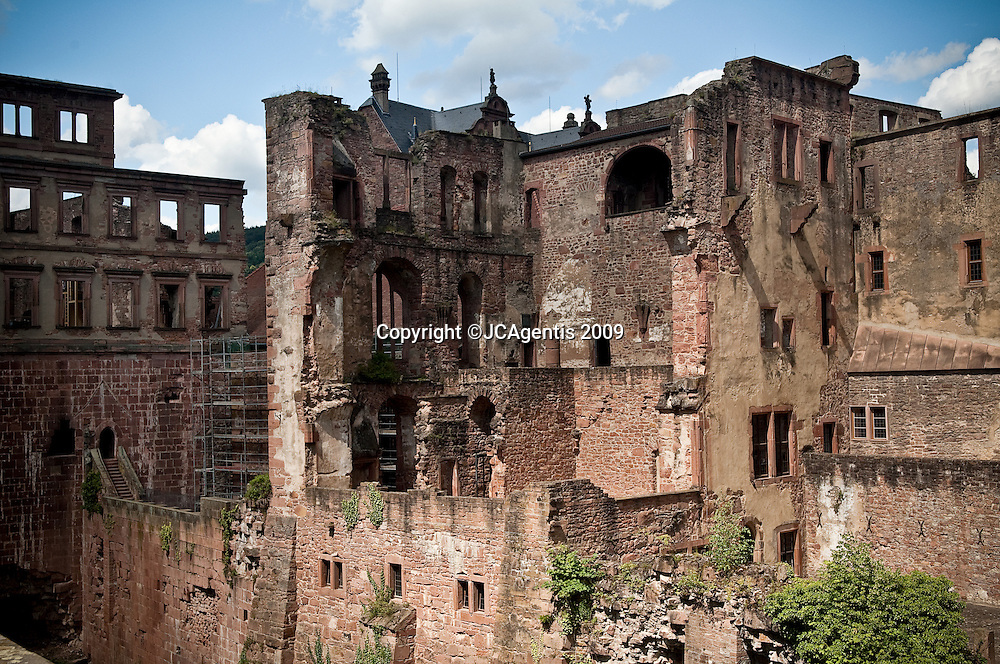 Ruins of the Heidelberg Castle under bright dynamic sky Heidelberg Germany.  The fifth largest city in the state of Baden-Württemberg.