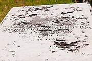 Tombstone at the cemetery in the village of New Plymouth, Green Turtle Cay, Bahamas.
