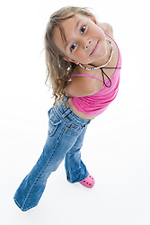 Portrait of a little girl smiling in the studio,