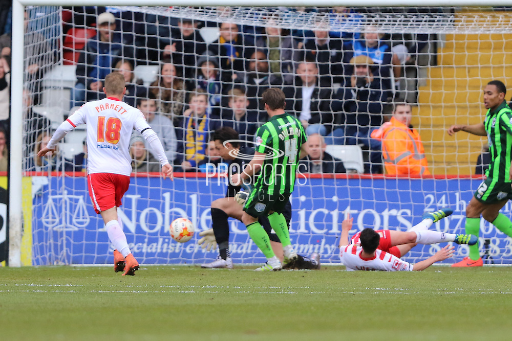 Greg Luer striker for Stevenage FC (9) nearly opens the scoring during the Sky Bet League 2 match between Stevenage and AFC Wimbledon at the Lamex Stadium, Stevenage, England on 30 April 2016. Photo by Stuart Butcher.
