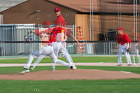 KELOWNA, BC - JULY 17: Zach Jacobs #27 of the Kelowna Falcons throws the a pitch against the the Wenatchee Applesox  at Elks Stadium on July 17, 2019 in Kelowna, Canada. (Photo by Marissa Baecker/Shoot the Breeze)