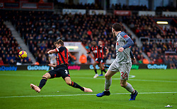 BOURNEMOUTH, ENGLAND - Saturday, December 8, 2018: Liverpool's Andy Robertson forces an own-goal from AFC Bournemouth's Steve Cook during the FA Premier League match between AFC Bournemouth and Liverpool FC at the Vitality Stadium. (Pic by David Rawcliffe/Propaganda)