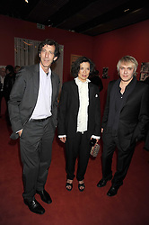 "Left to right, RALPH RUGOFF the director of the Hayward Gallery, BIANCA JAGGER and NICK RHODES at an exhibition of work by Andy Warhol entitled ""Other Voices, Other Rooms"" at The Hayward Gallery, Southbank Centre, London SE1 on 6th October 2008."