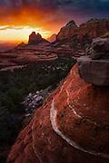 Sunset over the red rocks of Sedona, Arizona.