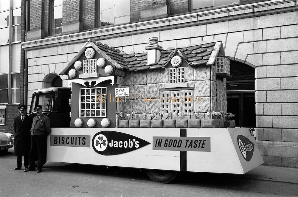 22/03/1963<br /> 03/22/1963<br /> 22 March 1963<br /> Jacob's Biscuits float for the St. Patrick's Day Parade, at Jacob's, Bishop's Street Dublin.