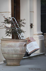 © Licensed to London News Pictures. 17/07/2018. London, UK. Wine is delivered to the official residence of the foreign secretary - where former Boris Johnson is still living a week after his resignation. One box was marked Jacques Dépagneux product of France -  12 bottles. Photo credit: Peter Macdiarmid/LNP