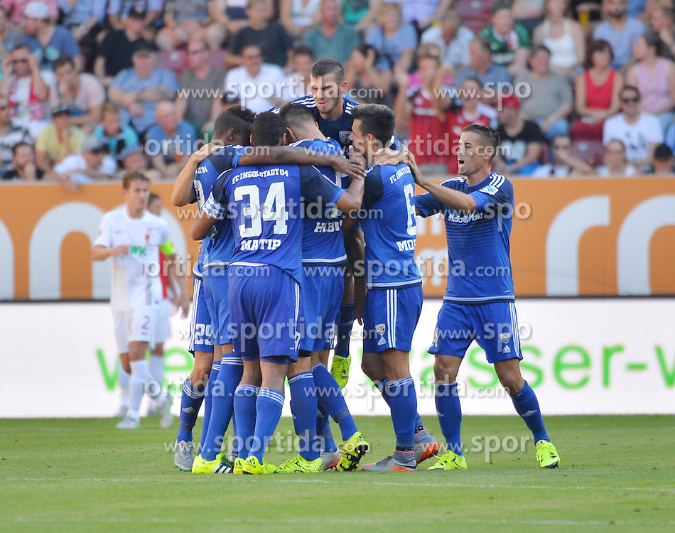 29.08.2015, WWK Arena, Augsburg, GER, 1. FBL, FC Augsburg vs FC Ingolstadt 04, 3. Runde, im Bild Torjubel des FC Ingolstadt 04 // during the German Bundesliga 3rd round match between FC Augsburg and FC Ingolstadt 04 at the WWK Arena in Augsburg, Germany on 2015/08/29. EXPA Pictures &copy; 2015, PhotoCredit: EXPA/ Eibner-Pressefoto/ Hierm<br /> <br /> *****ATTENTION - OUT of GER*****