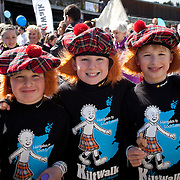 Images from The Glasgow Kiltwalk 2013. Walkers at the start of the Wee Kilwalk at Loch Lomond Shores.