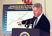 President Bill Clinton unveils the Year 2000 federal budget February 1, 1999 at a White House ceremony in Washington, DC.