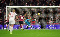 Football - 2019 / 2020 Women's International Friendly - England vs. Germany<br /> <br /> German goalkeeper, Merle Frohms  saves the penalty kick, at Wembley Stadium.<br /> <br /> COLORSPORT/ANDREW COWIE