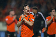 30th August 2019; Dens Park, Dundee, Scotland; Scottish Championship, Dundee Football Club versus Dundee United; Lawrence Shankland of Dundee United applauds the fans at the end of the match